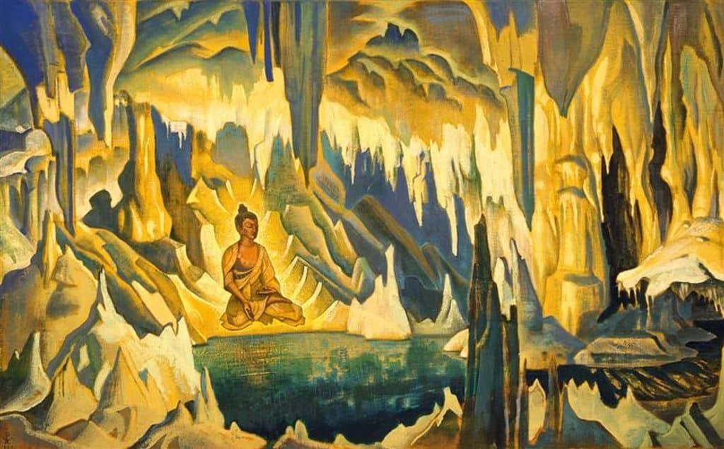 Yellow and green image of Buddha sitting in a cave